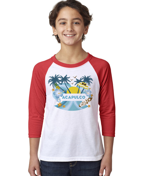 Acapulco Coconut Tree YOUTHS' 3/4 SLEEVED RAGLAN