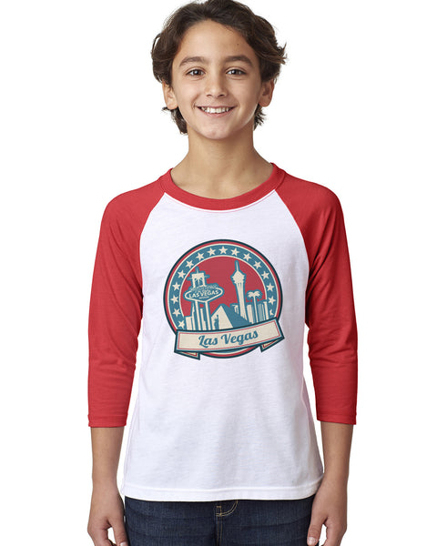 60's Las Vegas YOUTHS' 3/4 SLEEVED RAGLAN
