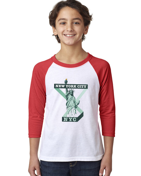Town of Liberty YOUTHS' 3/4 SLEEVED RAGLAN