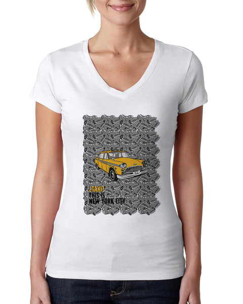 Super Taxi Wey in NY LADIES' V-NECK T-SHIRT