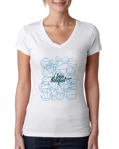 Just love basquet LADIES' V-NECK T-SHIRT