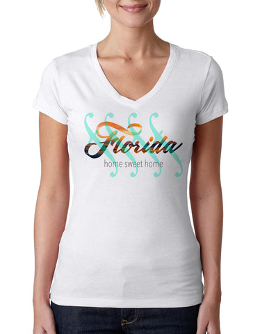 Florida Sweet Home LADIES' V-NECK T-SHIRT