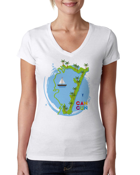 Cancun Boat LADIES' V-NECK T-SHIRT