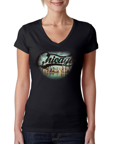Chicago Skyline LADIES' V-NECK T-SHIRT