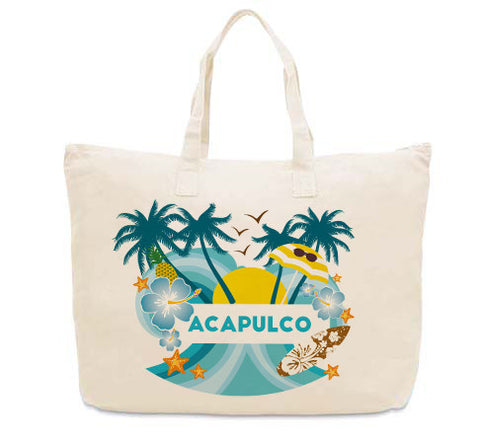 Acapulco Coconut Tree CANVAS TOTE