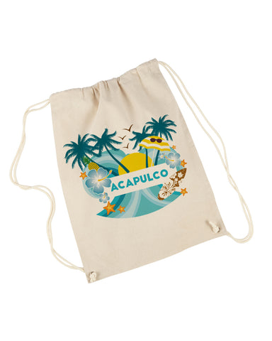 Acapulco Coconut Tree DRAWSTRING BACKPACK
