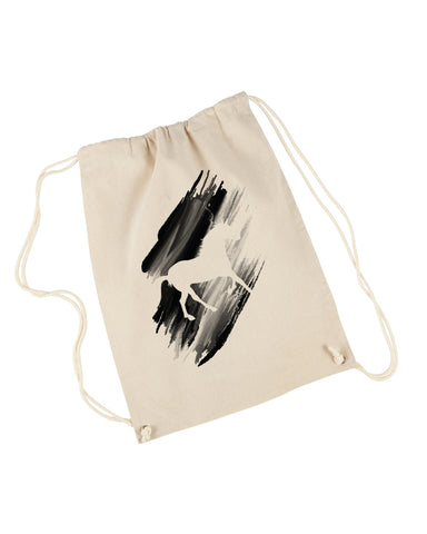 Black White Horse DRAWSTRING BACKPACK