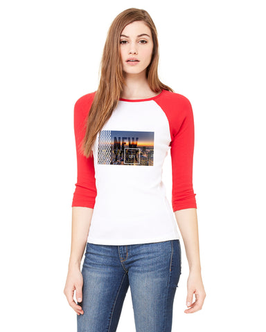 New York Twilight LADIES' 3/4 SLEEVED RAGLAN