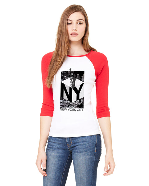 New York NOW LADIES' 3/4 SLEEVED RAGLAN
