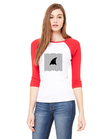 New S. Beach shark LADIES' 3/4 SLEEVED RAGLAN