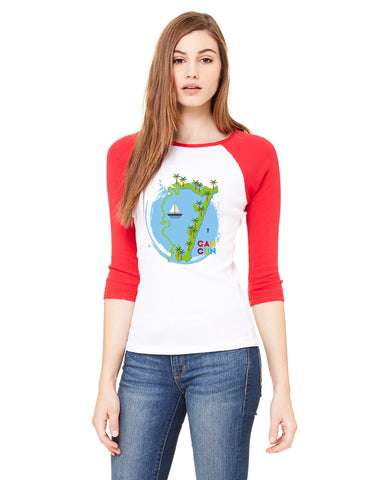 Cancun Boat LADIES' 3/4 SLEEVED RAGLAN