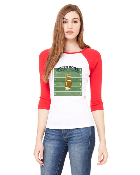 Super Bowl GO LADIES' 3/4 SLEEVED RAGLAN