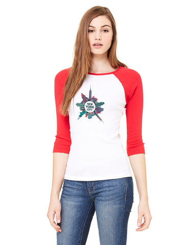 Getting Around in NYC LADIES' 3/4 SLEEVED RAGLAN