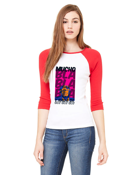 Donald Trump bla bla bla LADIES' 3/4 SLEEVED RAGLAN