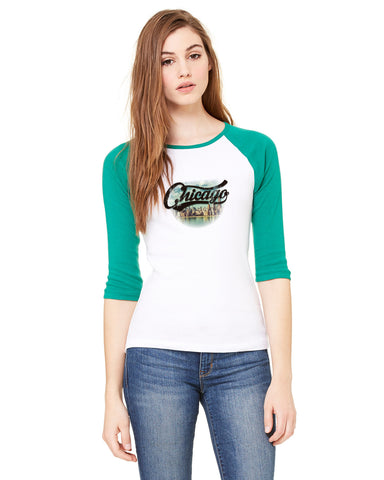 Chicago Skyline LADIES' 3/4 SLEEVED RAGLAN
