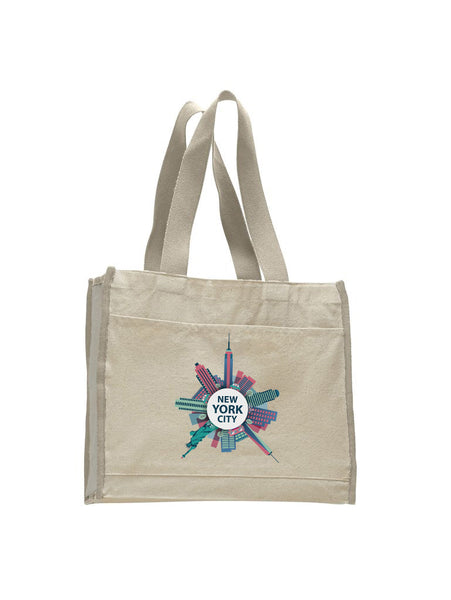 Getting Around in NYC TOTE BAG WITH COLORED TRIM