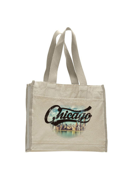 Chicago Skyline TOTE BAG WITH COLORED TRIM