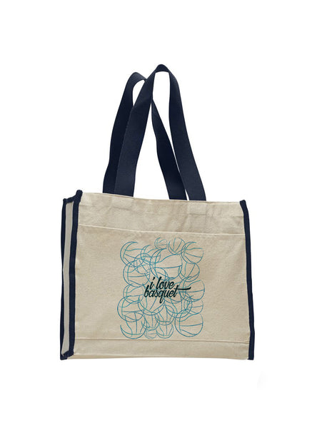 Just love basquet TOTE BAG WITH COLORED TRIM