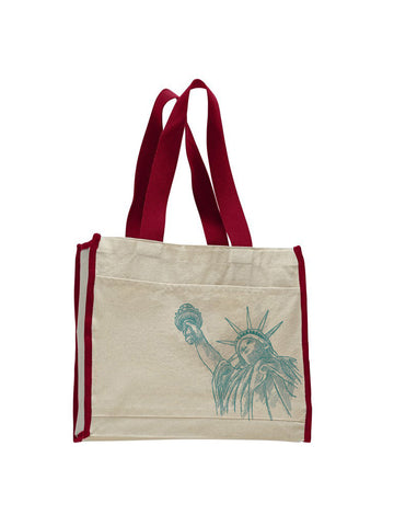 New York to be free TOTE BAG WITH COLORED TRIM