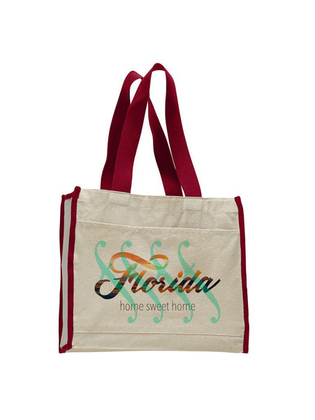 Florida Sweet Home TOTE BAG WITH COLORED TRIM