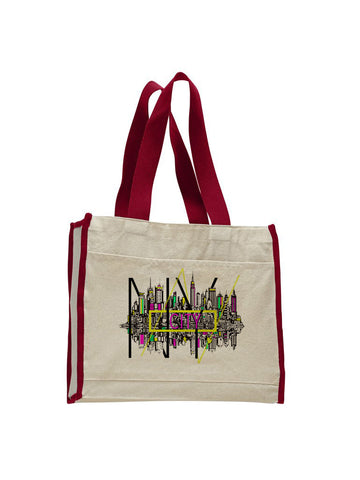 Complicated Time TOTE BAG WITH COLORED TRIM