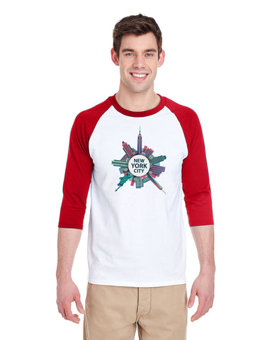 Getting Around in NYC MEN'S 3/4 SLEEVED RAGLAN