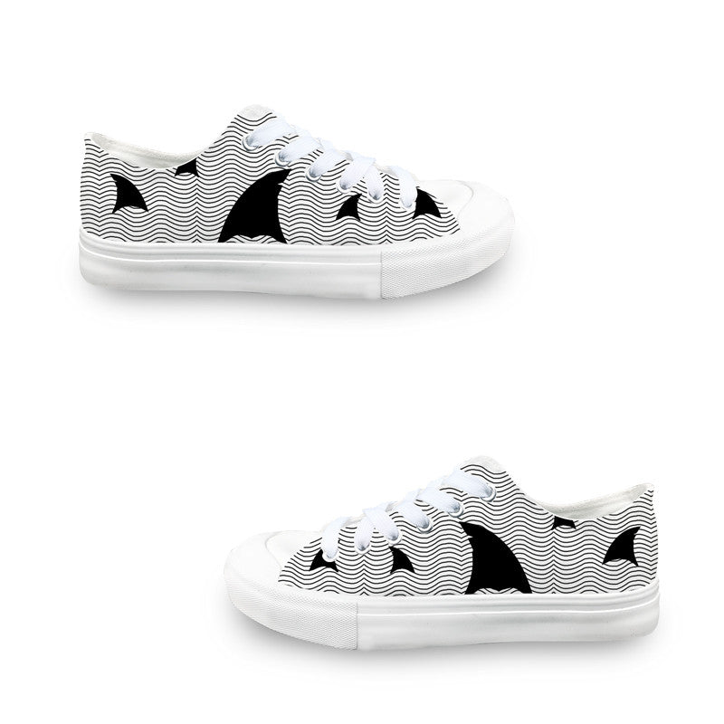 Shark Attack Women's Casual Shoes Sneakers Flat Lo-Top News Designer