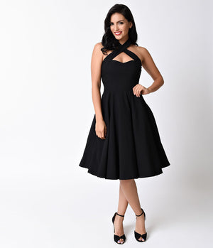 Unique Vintage 1950s Style Black Criss Cross Halter Flare Rita Dress