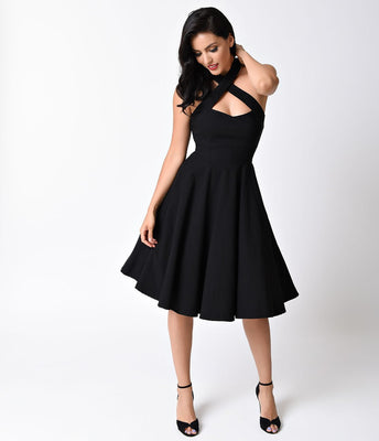 CLOSE-OUT Unique Vintage Rita Halter Dress Black