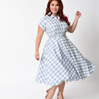 Unique Vintage Gingham Alexis Swing Dress in Blue