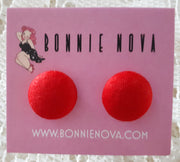 Bonnie Nova Fabric Covered Button Earrings in Red