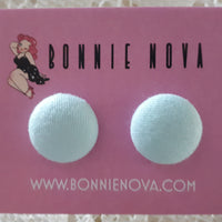 Bonnie Nova Fabric Covered Button Earrings in Pastel Blue
