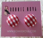Bonnie Nova Fabric Covered Button Earrings in Red Gingham