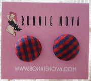 Bonnie Nova Fabric Covered Button Earrings in Red & Navy Blue