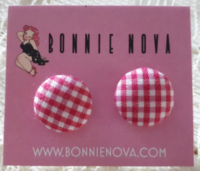 Bonnie Nova Fabric Covered Button Earrings in Magenta Gingham