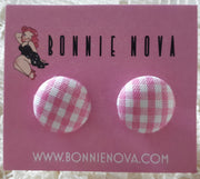 Bonnie Nova Fabric Covered Button Earrings in Pink Gingham