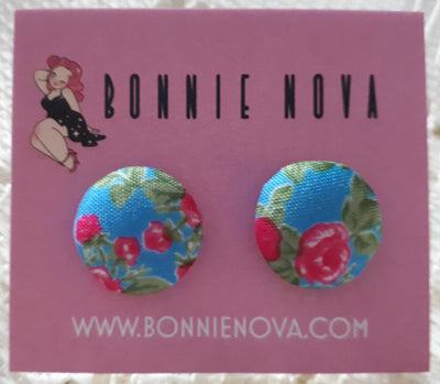 Bonnie Nova Fabric Covered Button Earrings in Pink Flowers on Blue