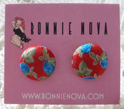 Bonnie Nova Fabric Covered Button Earrings in Blue Flowers on Red