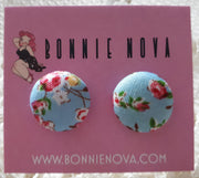Bonnie Nova Fabric Covered Button Earrings in Pink & Yellow Flowers on Light Blue