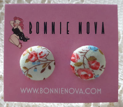 Bonnie Nova Fabric Covered Button Earrings in Pink & Blue Flowers on Mint Green