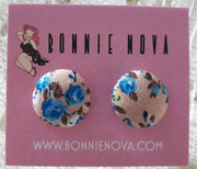 Bonnie Nova Fabric Covered Button Earrings in Blue & Yellow Flowers on Sepia