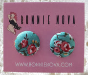 Bonnie Nova Fabric Covered Button Earrings in Pink & Yellow Flowers on Teal
