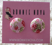 Bonnie Nova Fabric Covered Button Earrings in Pink Flowers on Light Pink