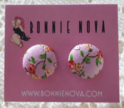 Bonnie Nova Fabric Covered Button Earrings in Pink & Yellow Flowers on Light Pink