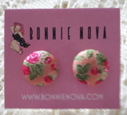 Bonnie Nova Fabric Covered Button Earrings in Pink Flowers on Peach