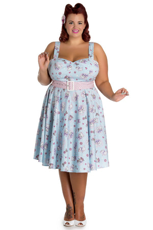 Hell Bunny Amelia Dress in Blue