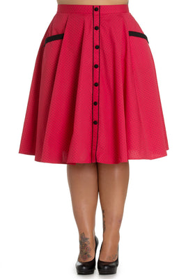 Hell Bunny Martie Skirt in Red