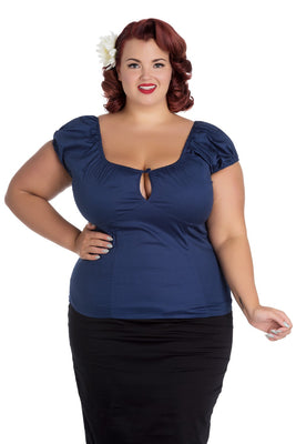 Hell Bunny Melissa Top in Navy