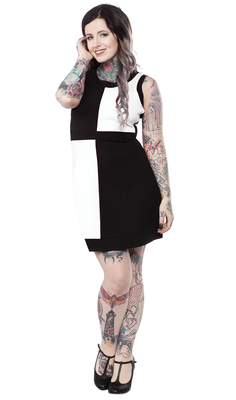 Sourpuss Clothing Mod Mini Dress in White