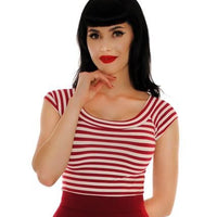 Retrolicious Striped Boat Neck Top in Wine
